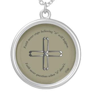 Faith Never Necklace w/Steel Cross