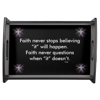 Faith Never Serving Tray w/Feather Cross