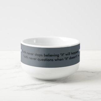 Faith Never Soup Mug w/Blue Flared Cross
