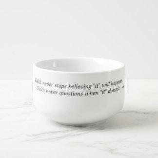 Faith Never Soup Mug w/Pink Flower Cross
