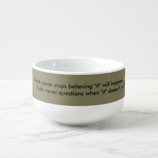 Faith Never Soup Mug w/Steel Cross