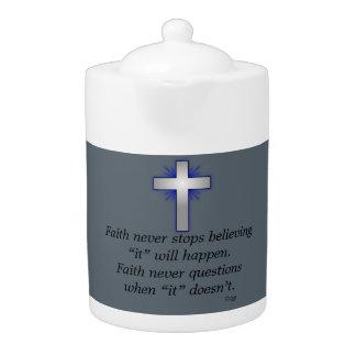 Faith Never Teapot w/Blue Flared Cross