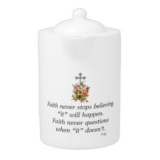 Faith Never Teapot w/Pink Flower Cross