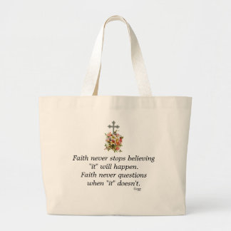 Faith Never Tote w/Pink Flower Cross