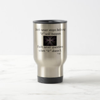Faith Never Travel Mug w/Feather Cross