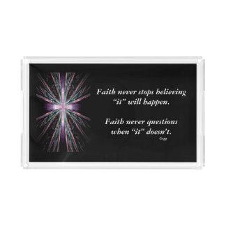 Faith Never Vanity Tray w/Feather Cross