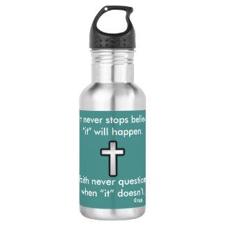 Faith Never Water Bottle w/Black Outline Cross
