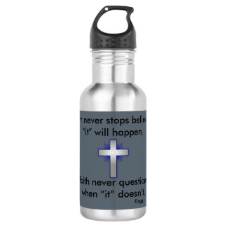 Faith Never Water Bottle w/Blue Flared Cross