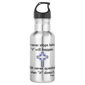 Faith Never Water Bottle w/Blue Flared Cross