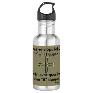 Faith Never Water Bottle w/Steel Cross