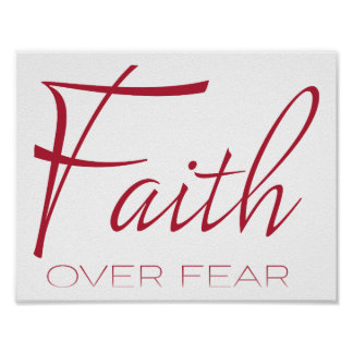 Faith Over Fear Encouragement in Red Poster