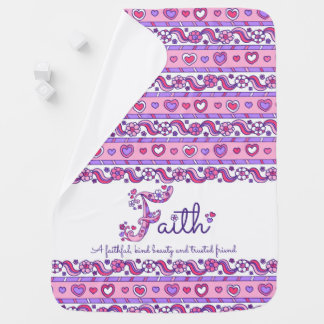 Faith personalize F name meaning baby blanket