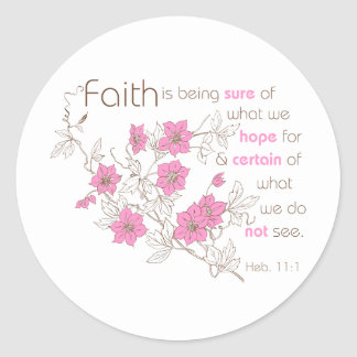 Faith (pink & brown) classic round sticker