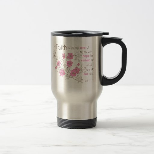 Faith (pink & brown) stainless steel travel mug