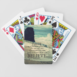 Faith quote beach ocean wave bicycle playing cards