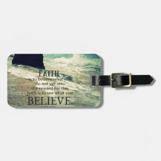 Faith quote beach ocean wave luggage tag