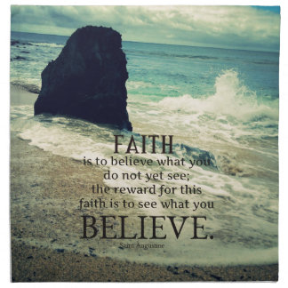 Faith quote beach ocean wave napkin