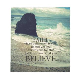 Faith quote beach ocean wave notepads