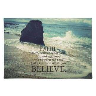 Faith quote beach ocean wave place mat
