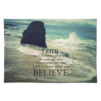 Faith quote beach ocean wave placemat