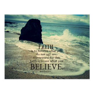 Faith quote beach ocean wave postcard