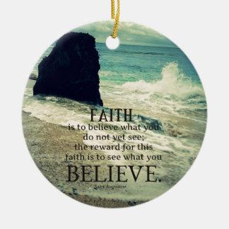 Faith quote beach ocean wave round ceramic decoration