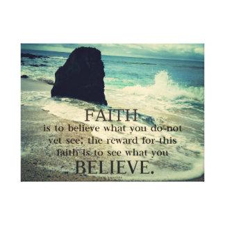 .Faith quote beach ocean waves Canvas Print