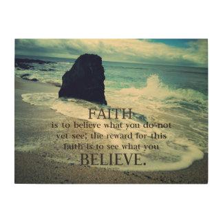 .Faith quote beach ocean waves Wood Canvases