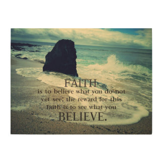 .Faith quote beach ocean waves Wood Wall Art