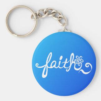 Faith - reverse ocean basic round button key ring