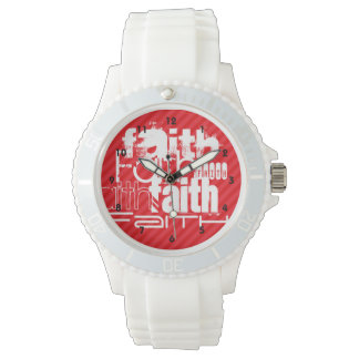 Faith; Scarlet Red Stripes Wrist Watch