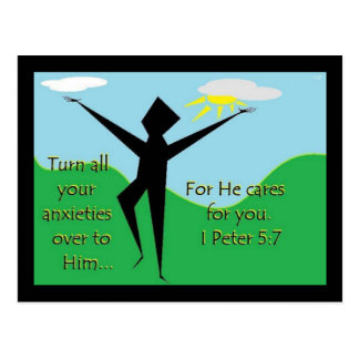 Faith Series 1st Peter 5:7 Scripture Art Postcard