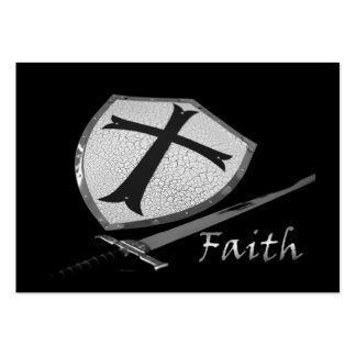 faith sword shield with customisable back pack of chubby business cards