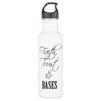 Faith, Trust, and Bases Cheer Water Bottle