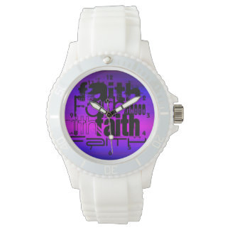 Faith; Vibrant Violet Blue and Magenta Wrist Watch