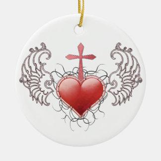 Faithful Crystal red Heart Round Ceramic Decoration