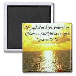 faithful in prayer bible verse on sunset magnet
