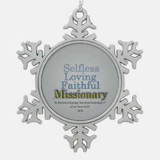 Faithful Missionary Pewter Snowflake Decoration