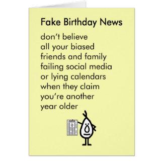 Fake Birthday News - a funny happy birthday poem Card