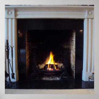Fake fireplace poster