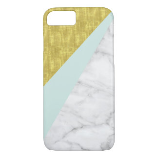 Fake marble with mint and gold bars iPhone 7 case