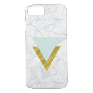 Fake marble with mint & gold triangles iPhone 8/7 case