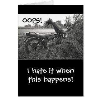 (FAKE)MOTORBIKE CRASH INTO HAY BALE /HUMOR CARD