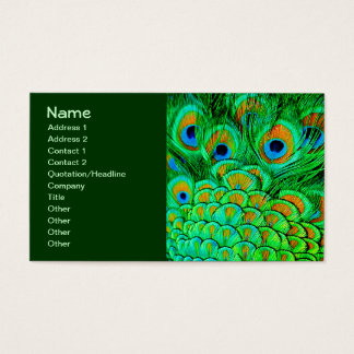 Fake Peacock Feathers Abstract Nature Pattern Business Card