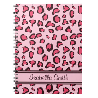Fake Pink Leopard Print With Name Note Book
