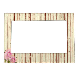 Fake Rustic Wood and Roses Magnetic Picture Frame