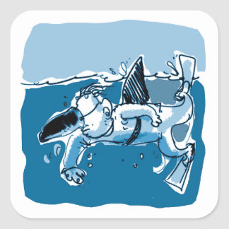 fake shark sketch style funny cartoon square sticker