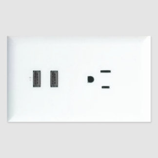 Fake USB Outlet Rectangular Sticker