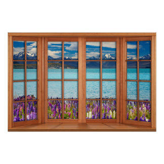 Fake Window Illusion - Mountain Lake in the Spring Poster