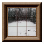Fake Window Poster Winter Snow Scene With Trees